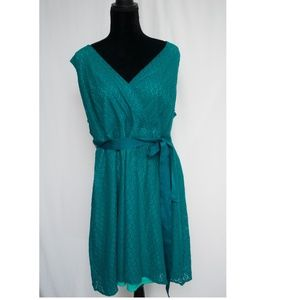 Lane Bryant lace green belted dress size 20